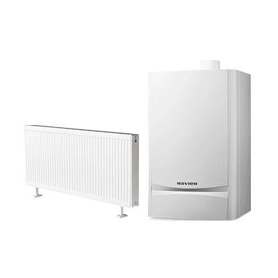雅克菲暖气片+庆东纳碧安燃气冷凝壁挂炉120㎡明装采暖(适合于三室两厅)