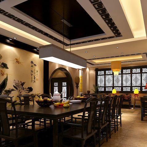中式仿古餐厅—装饰设计方法之一 朱红色的餐桌椅,配上精致的灯饰,使