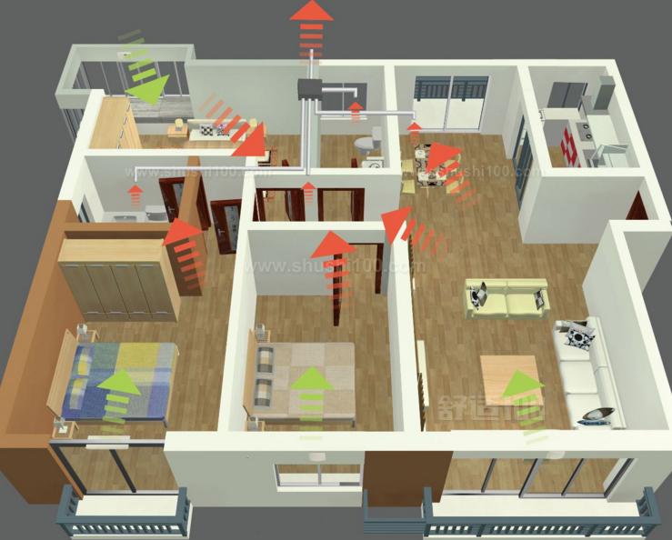 主机的安装 室内新风系统的安装一般在水电安装完成后进行的。在安装前,首先要进行定位,确定主机、管道、排风口和出风口的安装位置,并标记好,然后根据系统的设计图开始主机的安装。主机的安装要求正、平、稳;主机一般安装在阳台或者卫生间,最好远离卧室和起居室;选择的位置也要选在所需风管长度最少的地方以减少管道阻力,同时节省管材;最后主机要固定牢固,以免造成运转音过大。 管道的安装 管道的安装同样也根据定好的位置安装,一般大部分的管路安装使用的是寿命更长的PVC管道,管道每150cm需要一根吊卡;管路安装要求横平竖直