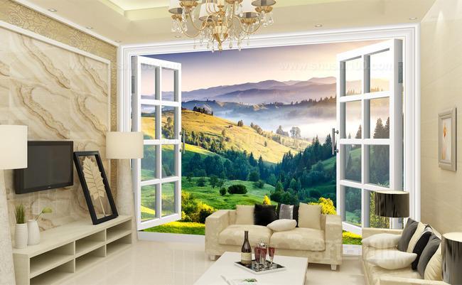 3d壁画背景墙装修效果图—3d窗户