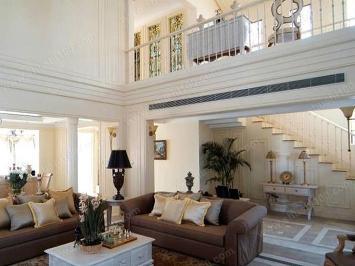 客厅中央空调效果图 中央空调出风口与简约欧式风格融