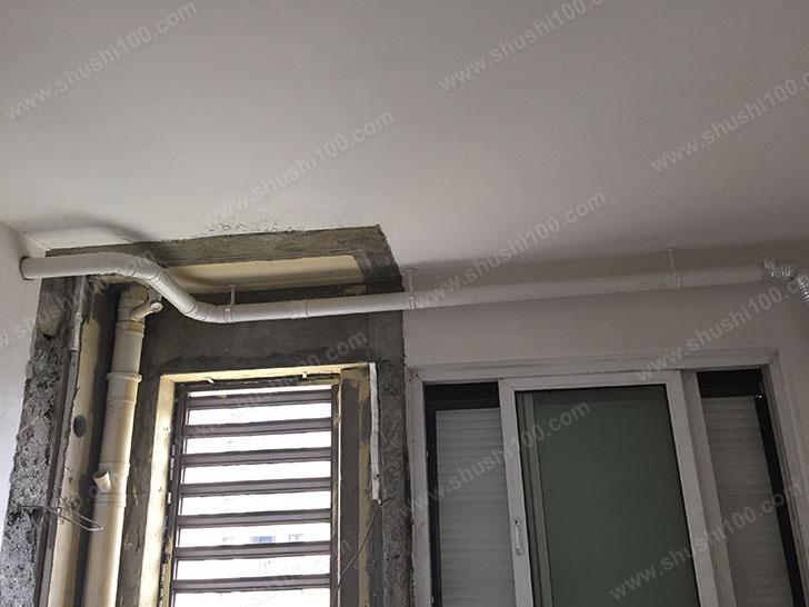 松下新风安装工程图 管路穿墙而过