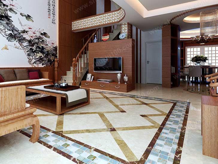 客厅瓷砖地暖地板装修效果图 巧妙铺设更美观