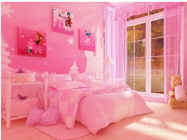 少女房间粉红色花纹墙壁
