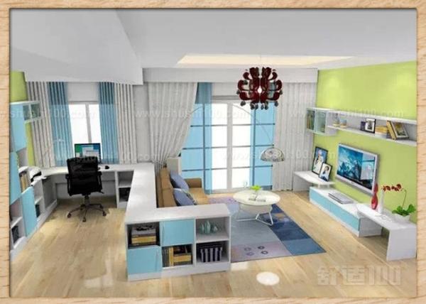 客厅书房一体化—电视背景墙做书架