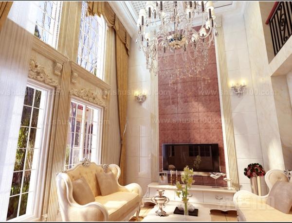 欧式复式楼家装挑空客厅设计