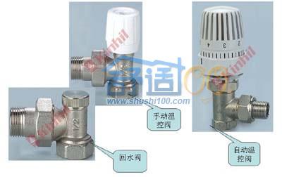 金海暖气片安装第六步:温控阀有立式(角式)和卧式(直式)之区别图片