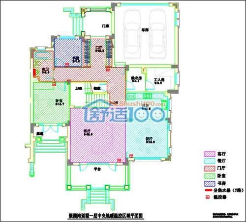 航天银湖湾别墅一层地暖平面设计图
