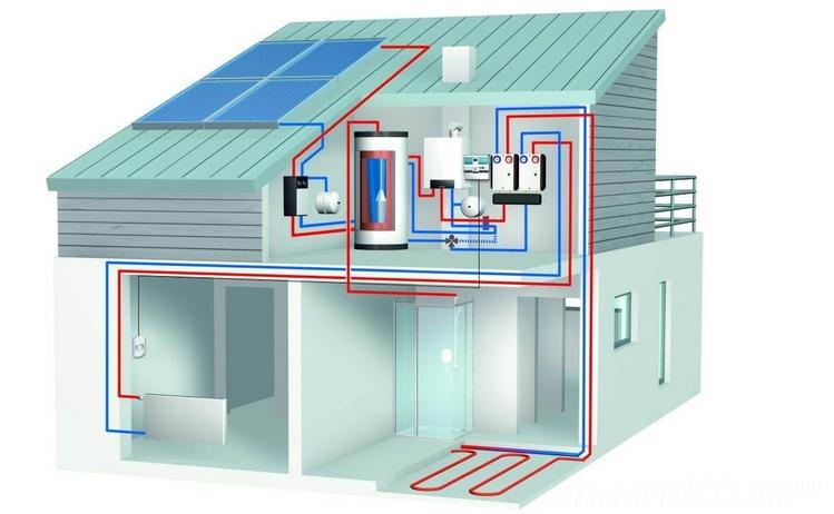 热源:热源有多种选择,可以有用煤炉、电水暖炉、燃气炉、燃油锅炉、太阳能热水、空气源热泵等。根据使用实际情况大多采用电水暖炉或者空气源热泵或者太阳能。中贺电水暖结合实际案例和应用效果,推荐使用太阳能+电水暖炉方式,性能稳定,无季节变化之忧,节约能源降低费用。 换热:由于水的腐蚀性和加热以结垢,通常为了延长热源的使用寿命和保证水质。在热源和蓄热水箱之间用板式换热器或者换热翅片。别墅专用生活热水换热器,传热效率高,外观漂亮,体积小。 别墅热水系统 蓄热:中央热水为了保证24小时随时使用热水,一般都是蓄热式水箱储