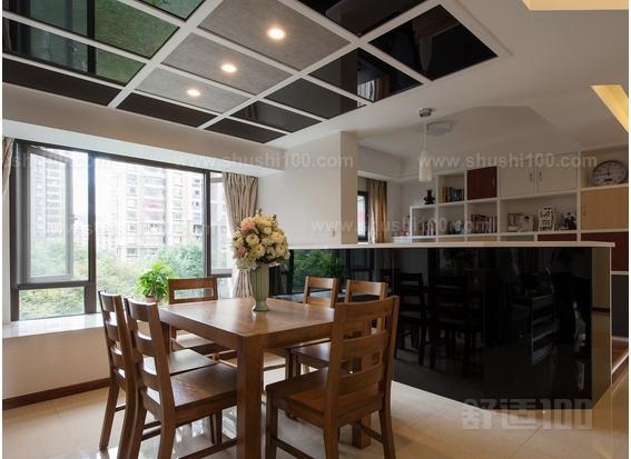茶色镜面拼花玻璃吊顶餐厅与客厅榻榻米床一体式