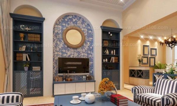 圆拱形背景墙—中式风格