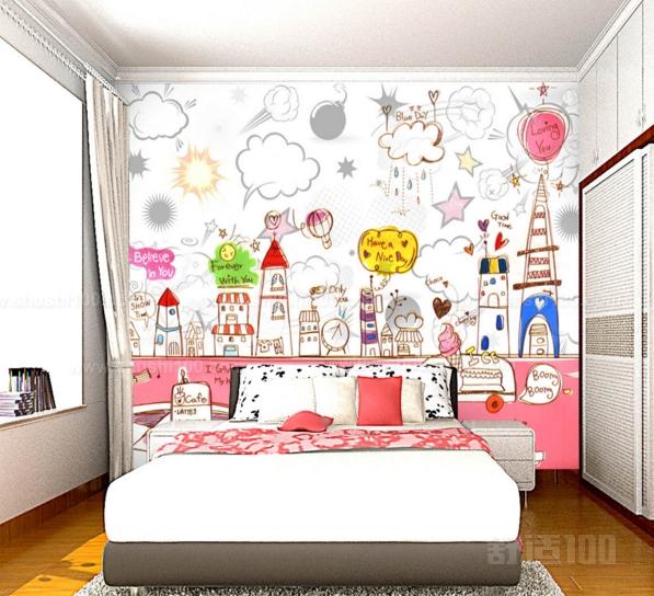 儿童房手绘墙选用颜料多为无毒的丙烯颜料,均是绿色环保材料,不含甲醛