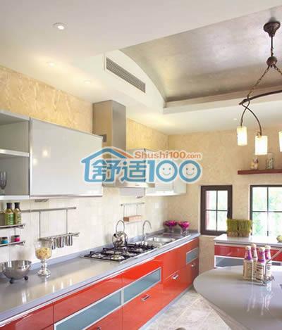 吊顶将空调出风口遮挡起来,这样一来,厨房产生的油烟就不会进