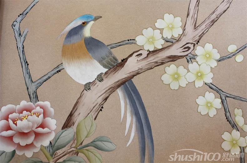 花鸟刺绣墙布