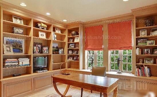 欧式书桌书柜一体