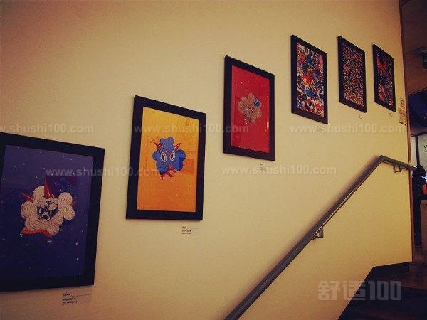 幼儿园楼梯墙壁相框