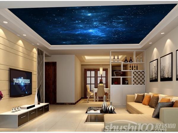 吊顶墙纸—简欧式银箔壁纸客厅吊顶装修 简欧风格的客厅,简单中透露